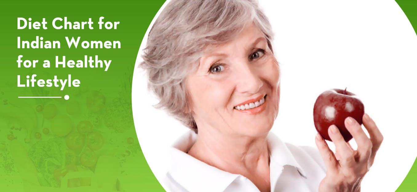 Healthy old women with diet plan